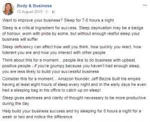 Facebook Post about Sleep